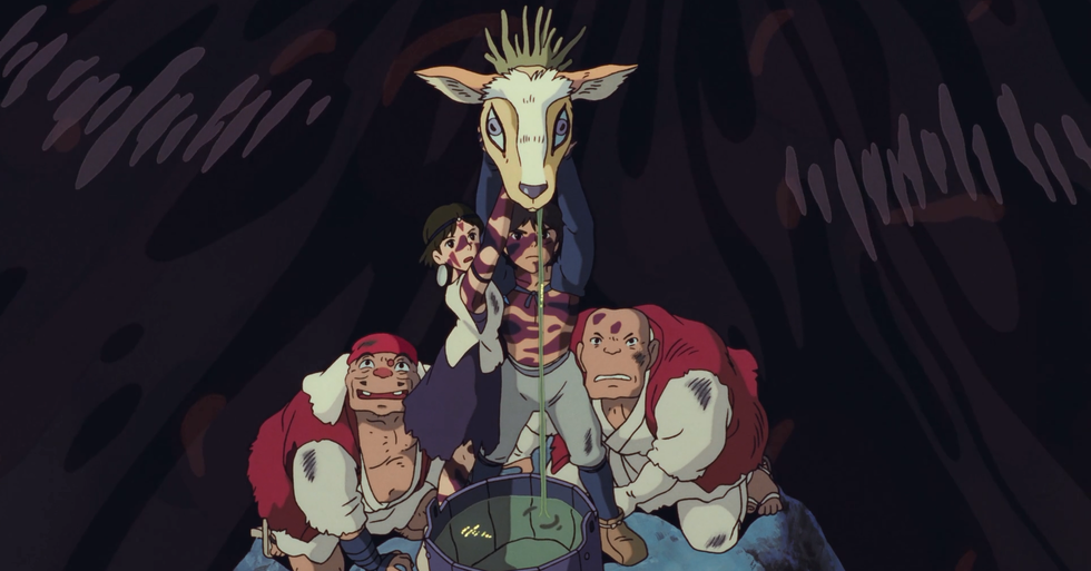 Die Rückgabe von Shishigamis Kopf (aus Princess Mononoke, Ghibli 1997)